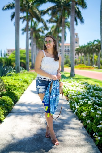 covering bases curvy blogger tank top jewels shorts scarf bag sunglasses denim shorts white top summer outfits