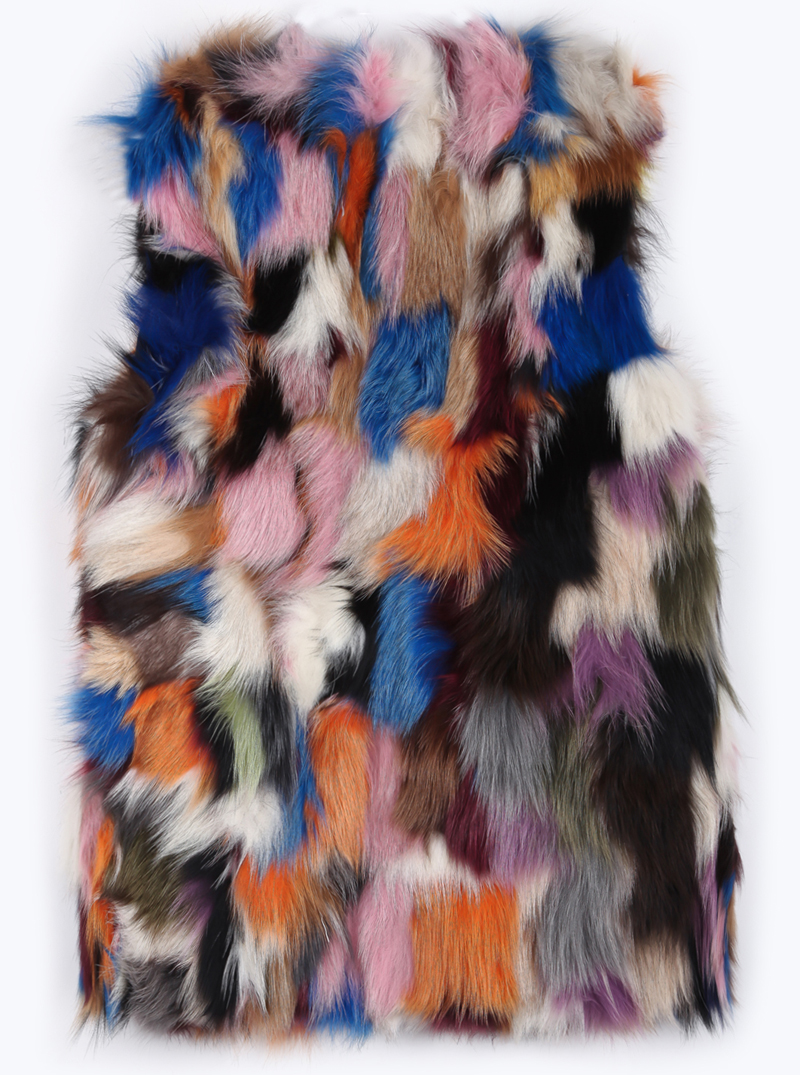 Multicolor Random Pattern Real Fur Gilet - Sheinside.com