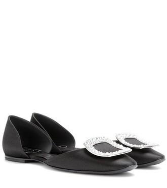 embellished satin black shoes