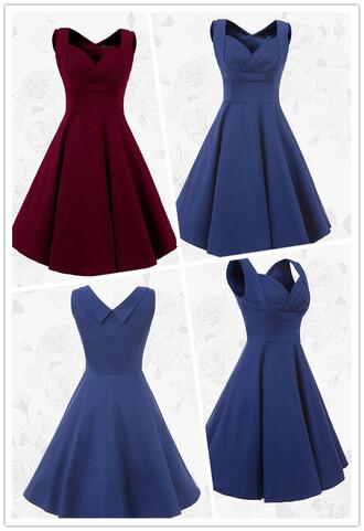 dress 1950s vintage dress short homecoming dress bridesmaid burgundy homecoming dress blue brides blue bridesmaid dress