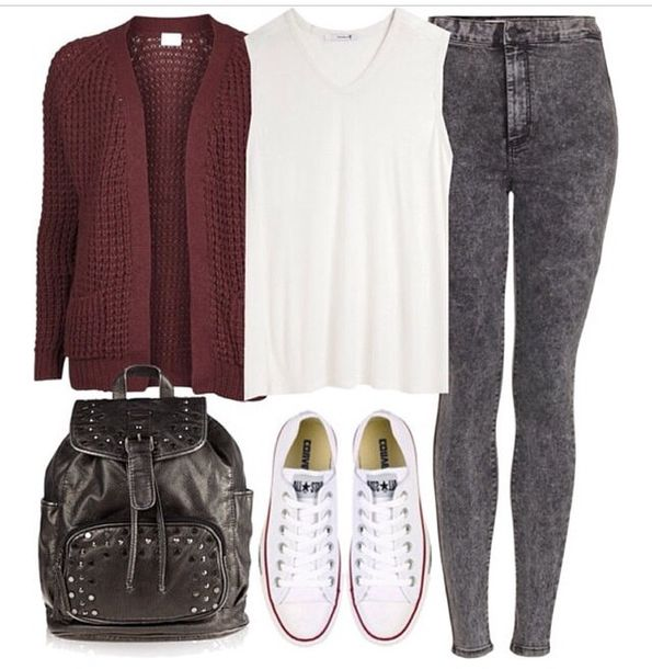 Jeans Fashion Style Stylish Skinny Grey Cardigan Converse White Sneakers Black Bag Summer