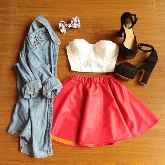 hair bow jacket jeans jacket leather skirt red heels, floral shirt skirt