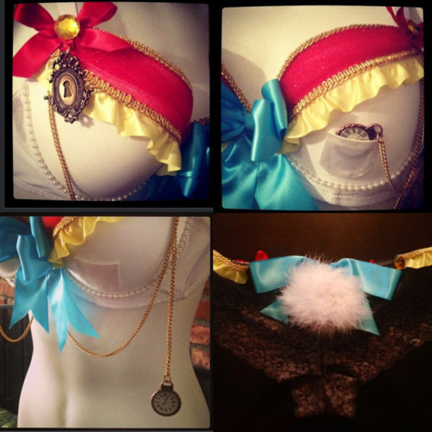 underwear beyond rave bunny bunny whitebunny edc costume bra ravebra aliceinwonderland jewels