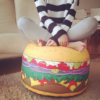 home accessory hamburger bean bag food