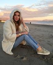 jacket,hoodie,shearling jacket,fleece lining,the blonde salad,cream