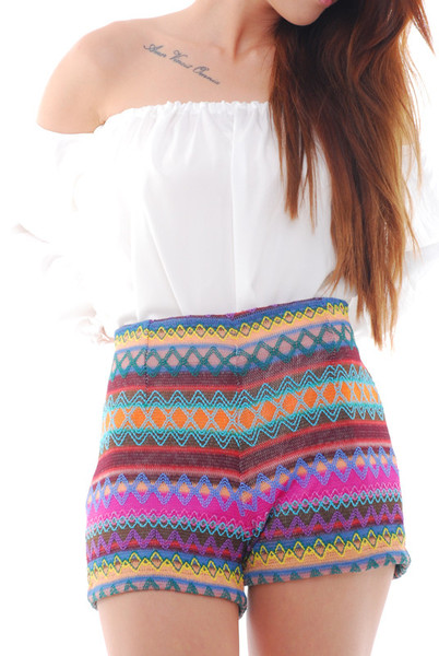 Shorts - Aztec Print Knitted High Waisted   UsTrendy