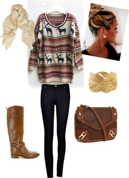 boots jeans blouse sweater brown cute fall sweater jewels bag shoes outfit oversized sweater scarf oversized white sweater deer reindeer sweater reindeer snowflakes cardigan fall outfits