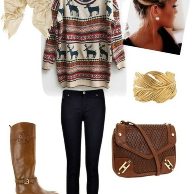 jewels sweater outfit cute boots brown fall sweater jeans bag shoes red lime sunday scarf oversized sweater oversized white sweater deer reindeer sweater reindeer snowflakes fall outfits cardigan blouse scarf red