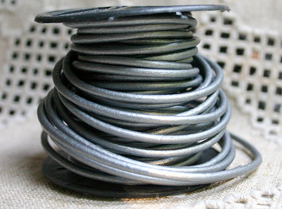 3mm Metallic Grey Silver Round Leather Cord   by SBBeadsAndCrafts