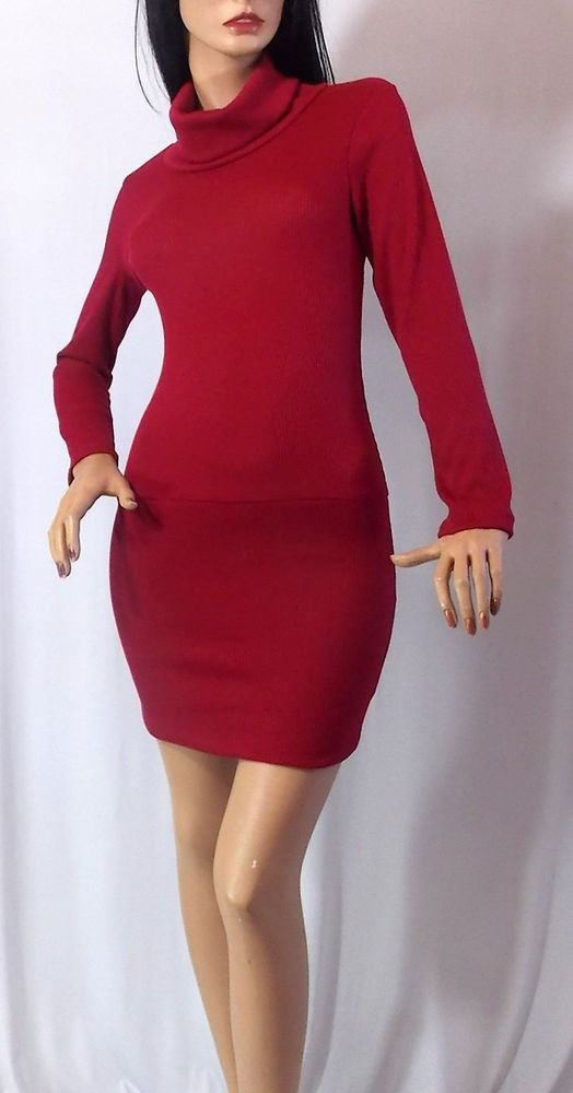 Turtleneck Sweater Dress Knit Mini Long Sleeve Sexy Tunic Top Red | eBay
