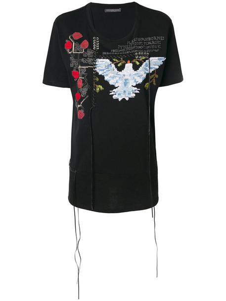 Alexander McQueen - embroidered patch T-shirt - women - Cotton/Polyester/Polyurethane/Viscose - 38, Black, Cotton/Polyester/Polyurethane/Viscose