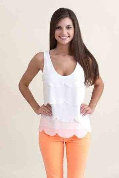 scalloped top white girly tank top