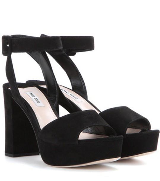 Miu Miu sandals platform sandals suede black shoes