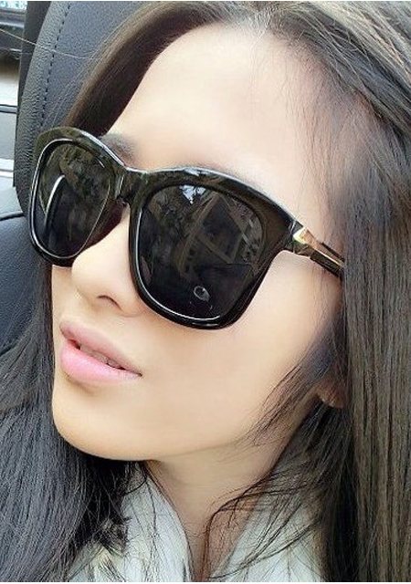 Women's retro big frame black sunglasses online