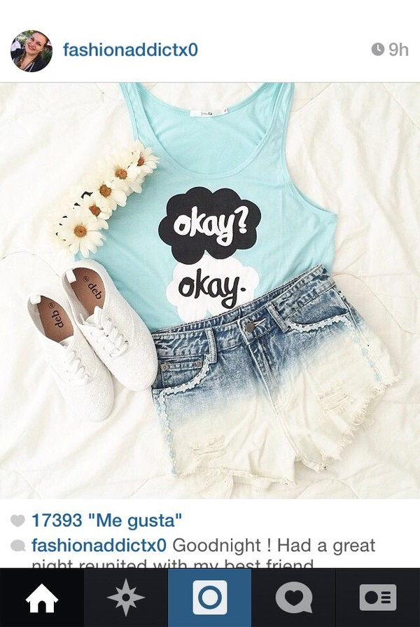 t-shirt the fault in our stars sky blue crop tops flower crown black/white sneakers jewels ombre shorts shoes