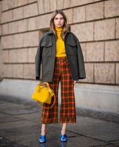 shoes,mules,satin,high heel sandals,cropped pants,checkered pants,flare pants,handbag,jacket,turtleneck sweater,knitted sweater