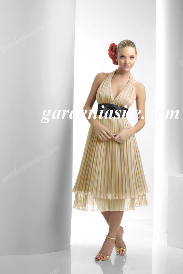 A Line Halter Tea Length Ruffles/Pleats Sash Tulle Homecoming Dress 2014 - Gardeniasite
