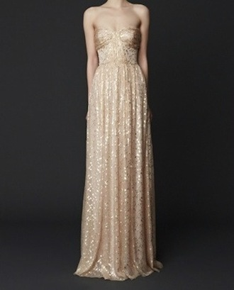 dress gold long strapless sparkle