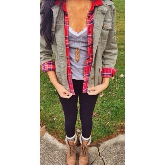 shoes brown camo jacket boots plaid shirt green black leggings