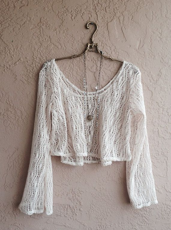 Gypsy Hippie Bohemian Bell Sleeves crochet open weave crop sweater fo…