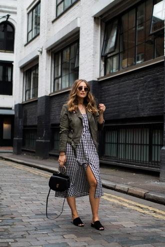 dress tumblr gingham dresses gingham midi dress button up sandals mules bag handbag jacket green jacket sunglasses shoes