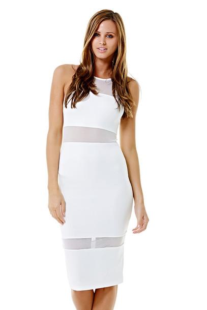 dress ustrendy dress midi dress ustrendy bodycon dress white dress white mesh dress mesh cutouts