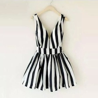 dress striped dress black and white dress rock dress punk dress
