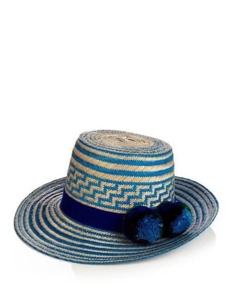 3f41b6dd2acd32 YOSUZI Simea pompom-embellished straw hat in blue / multi - Wheretoget