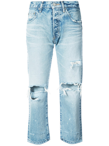 Moussy jeans cropped jeans cropped women ripped cotton blue