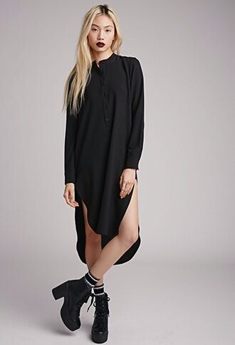 dress black grunge shirt dress goth punk hipster gothic grunge midi harajuku collared dress black dress streetwear street goth shoes