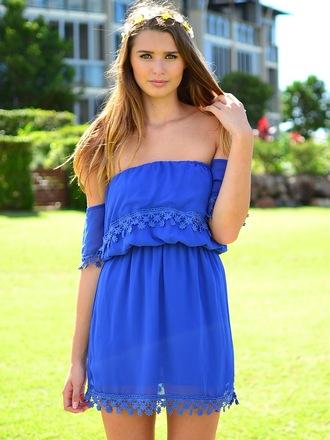 dress blue fringes flowers fashion hippie boho off the shoulder