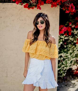 skirt tumblr mini skirt wrap skirt white skirt top off the shoulder off the shoulder top yellow yellow top sunglasses