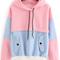 Color block drawstring hooded sweatshirt -shein(sheinside)