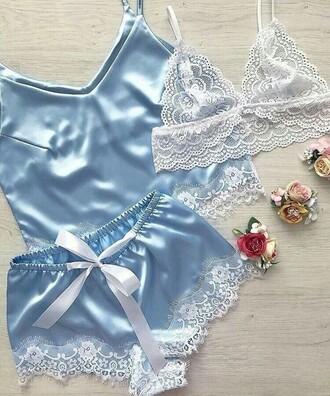 pajamas underwear silk pajamas blue  silk
