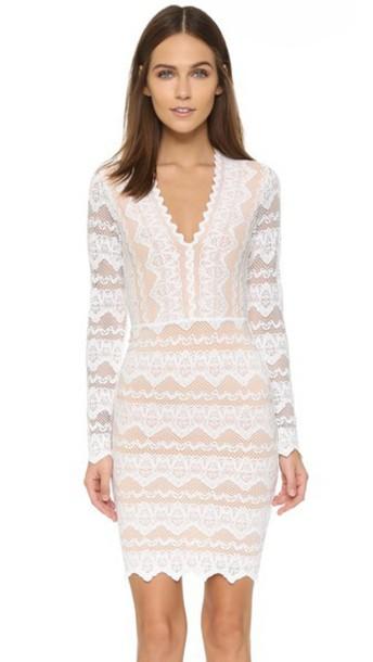 Nightcap X Carisa Rene Sierra Lace Deep V Dress - Dove/Nude