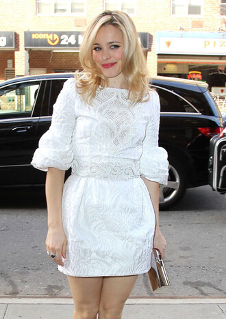 dress silver purse white dress rachel mc adams blonde hair lace lace dress cute cute dress short dress white floral short dress