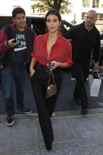 pants flannel high waisted pants black pants open shirt rolled up sleeves kim kardashian blouse