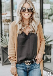blouse,charcoal brown lace trim camisole