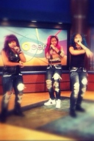 jeans ripped jeans dope trill polyvore omg girlz zonnique pullins breaunna womack bahja rodriguez pink purple blue swag