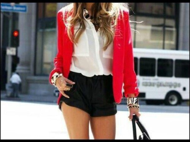 jacket fashion style girly shorts blazer top blouse red