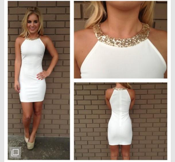 dress gold neckline white dress