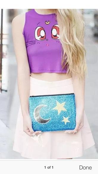 bag blue sailor moon handbag sailor moon bag glitter glitter bag sky blue japanese cute cute outfits