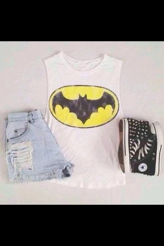 shirt hipster batman converse spikes high waisted shorts digitour sleevless shoes