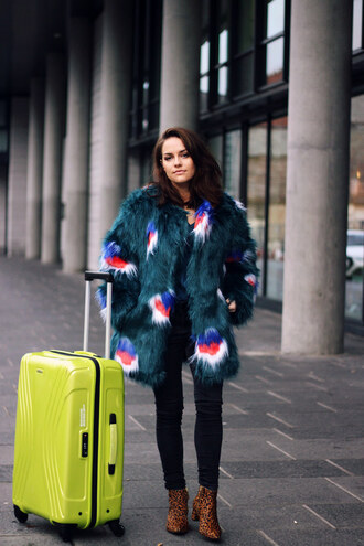 blogger faux fur vest the little magpie suitcase leopard print high heels boots fluffy