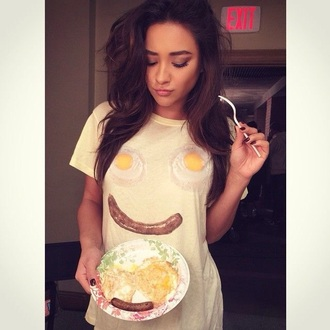breakfast shay mitchell funny t-shirt wildfox