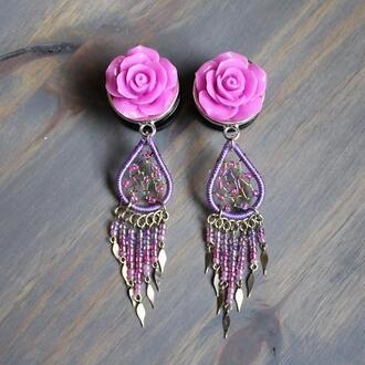 jewels rose floral flowers dangle earrings purple pink gold ear plug gauge jewelry