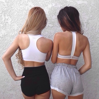 sports bra white bra black shorts grey shorts sportswear sports shorts workout gym shorts shorts comfy grey tumblr style tank top sweatshorts sweatpants clothes high waisted shorts