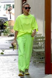 pants,neon,neon yellow,hailey baldwin,model off-duty,streetstyle,casual,top