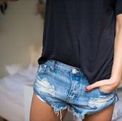shorts,jeans,denim,t-shirt,denim shorts,distressed denim shorts,shirt,boyfriend jeans,sexy,used look,used look jeans,pants