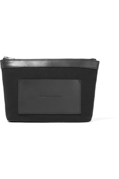 pouch leather black bag